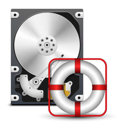 hard disk drive: Open hard disk drive with life buoy, vector Illustration