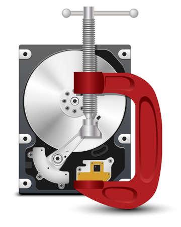 sata: Vector hard drive and vise Illustration