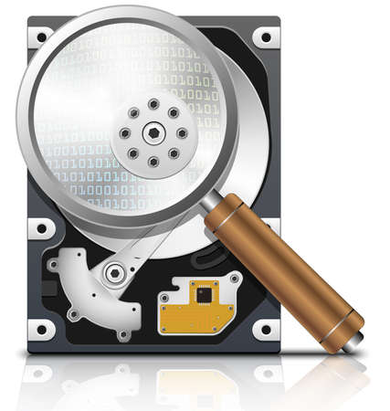 hard disk drive: Vector HDD under the magnifying glass, front view