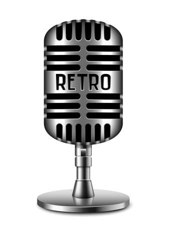 scenical: Retro microphone on white background Illustration