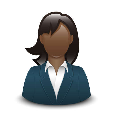 black woman: Vector user icon of black woman in business suit