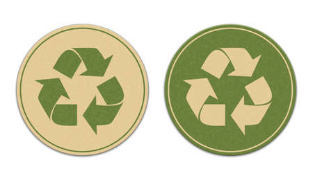 Two paper recycle stickers isolated on white background