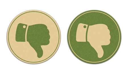 worse: Two paper thumb down stickers isolated on white background