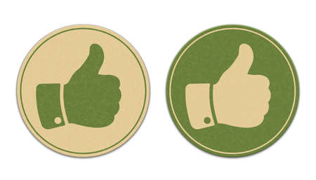 thumb up: Two paper thumb up stickers isolated on white background