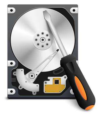 repair computer: HDD repair icon, vector