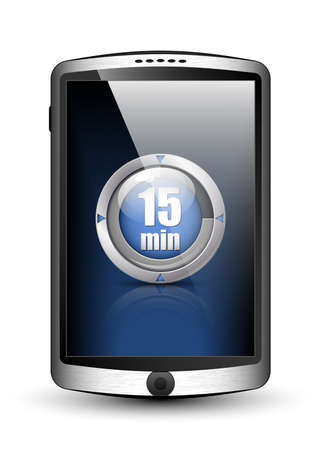 big timer: Smartphone with modern timer icon on the big touch screen. Vector illustration