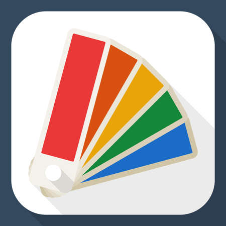 color palette: Color palette icon with long shadow