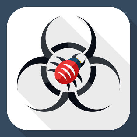 infectious waste: Biohazard virus icon with long shadow