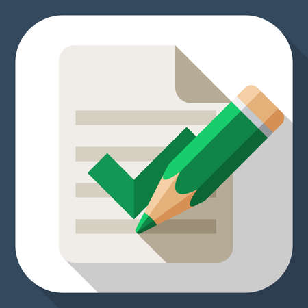 attestation: Document and pencil icon with long shadow