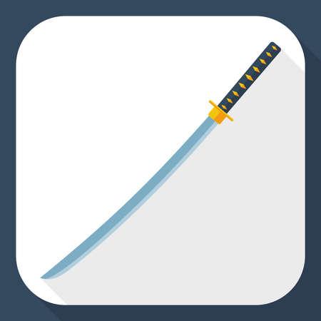 katana sword: Katana sword icon with long shadow