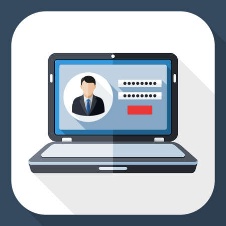 Laptop icon with user login form on the screen and long shadow Illustration