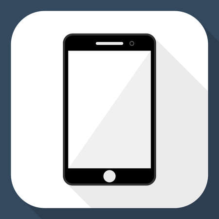operating system: Smartphone flat icon with long shadow
