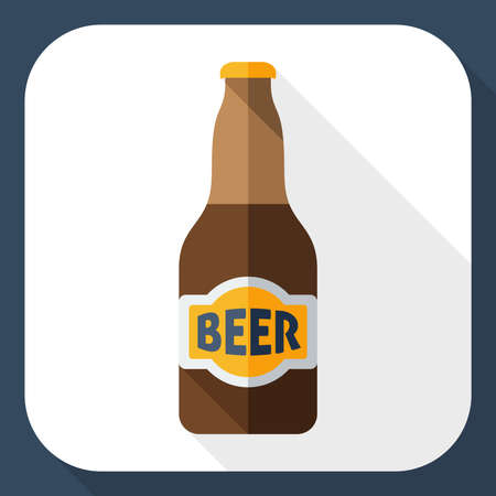 beer house: Beer bottle icon with long shadow