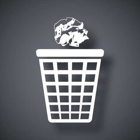 throwing paper: Vector trash basket icon with crumpled paper
