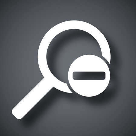 minus sign: Vector magnifier icon with minus sign