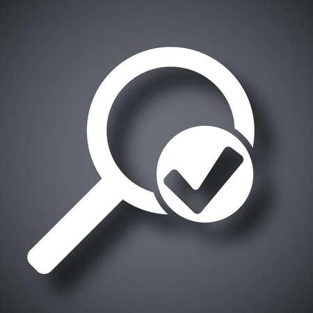 lupa: Vector lupa signo con el icono de marca de verificación Vectores