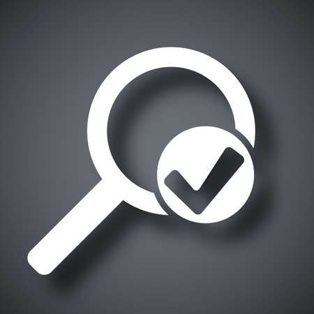 magnify: Vector magnifier sign with check mark icon