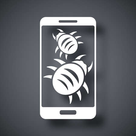 malware: Smartphone is infected by malware, vector illustration