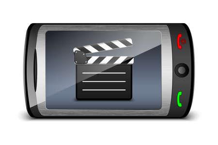 clap board: Toque tel�fono con tarjeta de la palmada en la pantalla. Vector