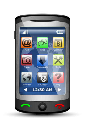 touch screen phone: Vector Mobile phone with icons on the touch screen