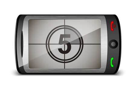 touch screen phone: Vector touch phone with countdown on the screen