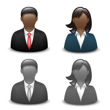 male female: Avatars of black male and female in business suits. Vector Illustration