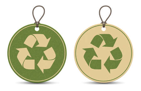 Two paper recycle tags isolated on white background Ilustracja