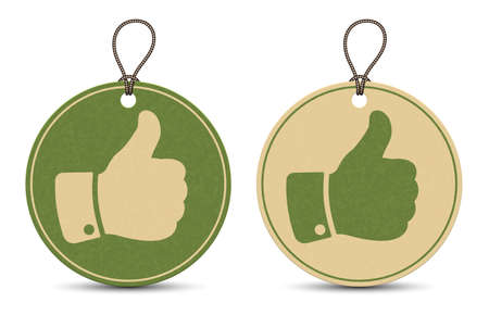 Two paper thumb up tags isolated on white background Çizim