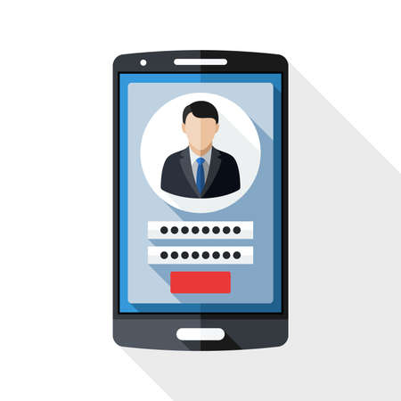 authentication: Smart phone icon with user login form and long shadow on white background Illustration