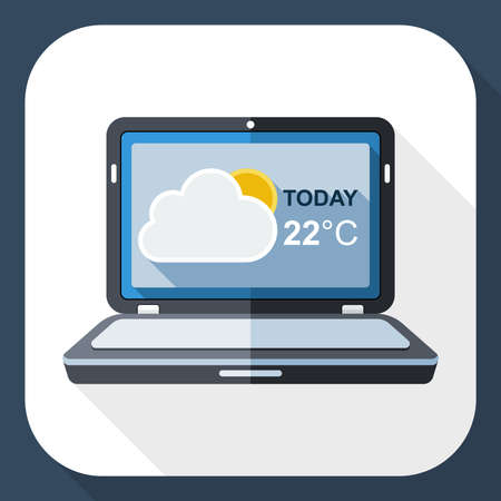 nebulosity: Laptop icon with weather widget on the screen and long shadow