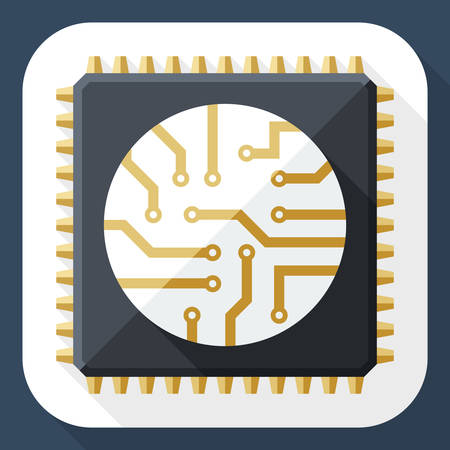 microelectronics: Processor icon with long shadow Illustration