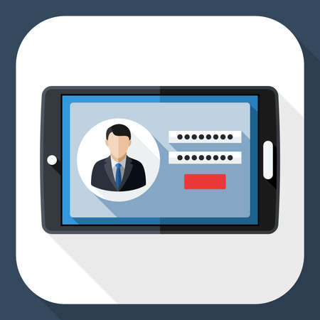 login icon: Tablet icon with user login form and long shadow Illustration