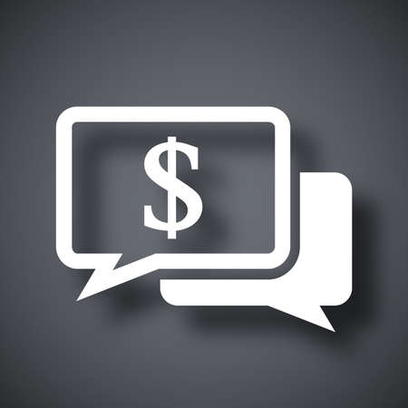 dollar sign: Vector speech bubbles icon with dollar sign