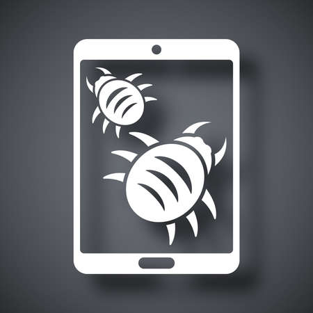 malware: Tablet is infected by malware, vector illustration Illustration