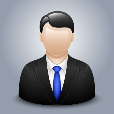 blue icon: Vector user icon of man in business suit Illustration
