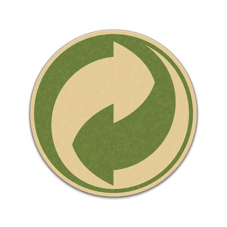 reciclable: Etiqueta de reciclaje de papel aislado en un blanco Vectores