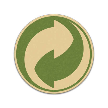 paper recycling: Paper recycling sticker isolated on a white