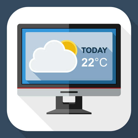 nebulosity: Icon of monitor with weather widget on the screen with long shadow