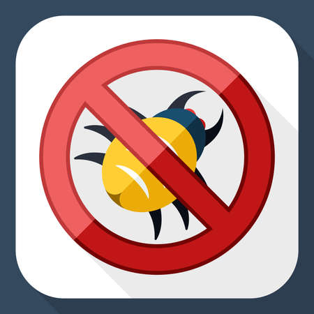 malware: No malware icon with long shadow