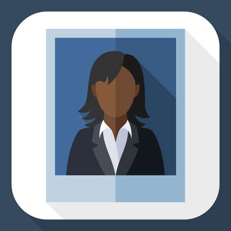 grey hair: Picture of a black woman in a business suit with long shadow Illustration
