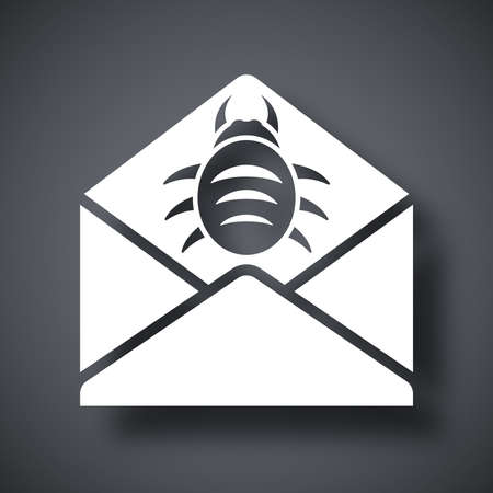 email security: Vector infected email icon