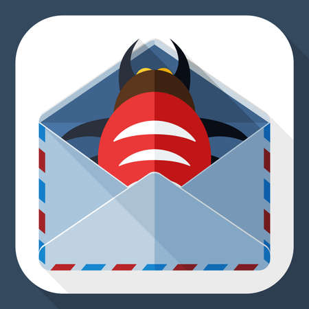 infected: Infected email icon with long shadow