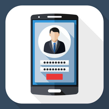 Smart phone icon with user login form and long shadow Illustration