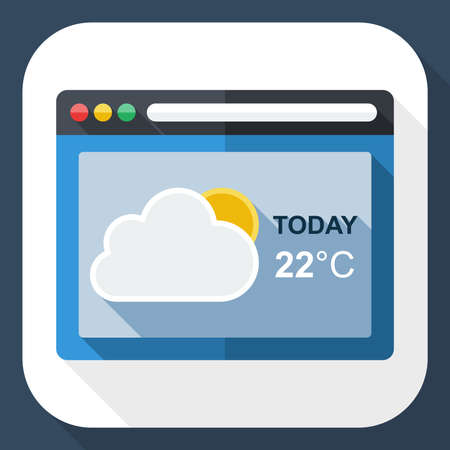 operating system: Weather forecast application icon with long shadow