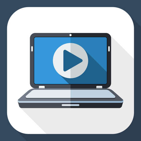 long play: Laptop icon with play button on the screen and long shadow
