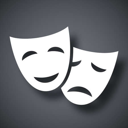 tragedy mask: Vector theatrical masks icon