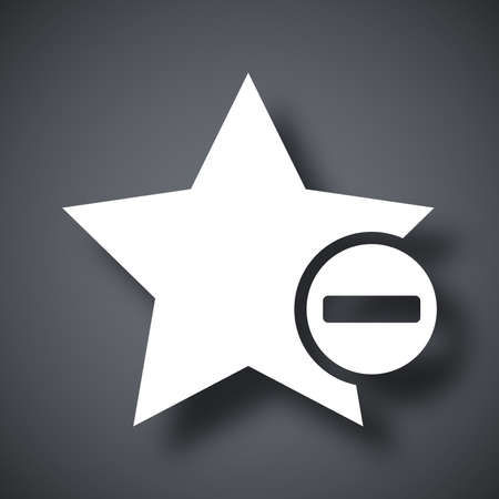 glyph: Vector star favorite icon with minus glyph Illustration