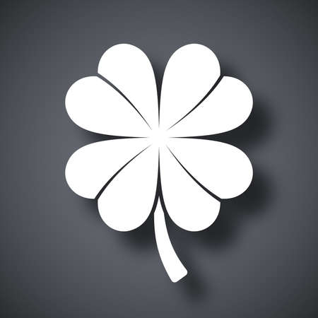 fortunate: Four-leaf clover icon, vector