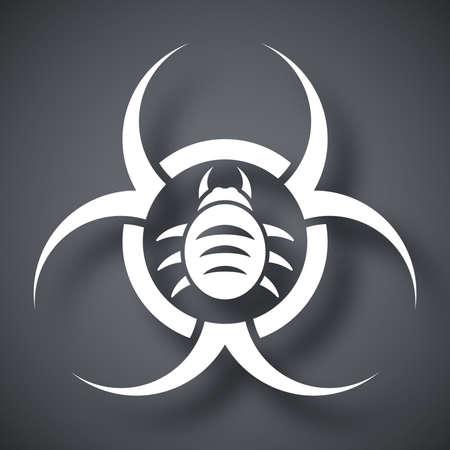 biological waste: Icono del vector del virus de riesgo biol�gico