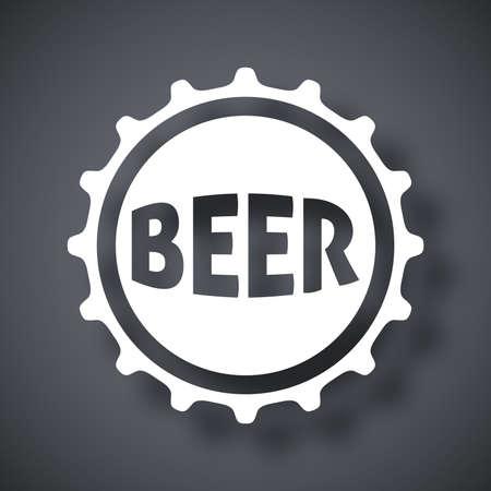 gorras: Cerveza Vector icono de tapa de la botella